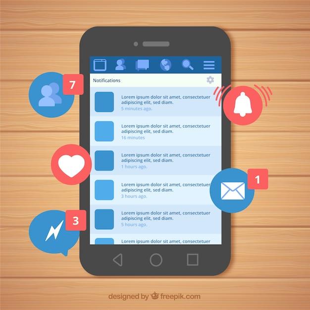 Плоский мобильный телефон с уведомлениями facebook Бесплатные векторы