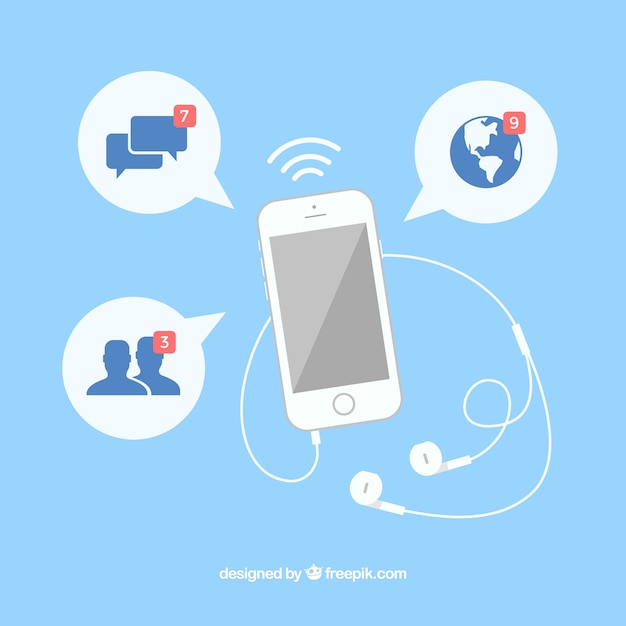 Flat mobile with facebook notifications Free Vector