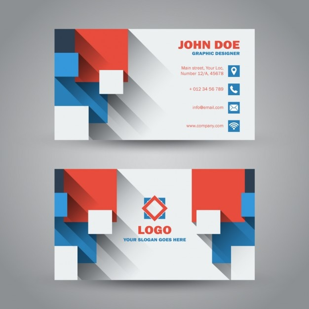 Flat Modern Business Card With Long Shadow Vector | Free Download