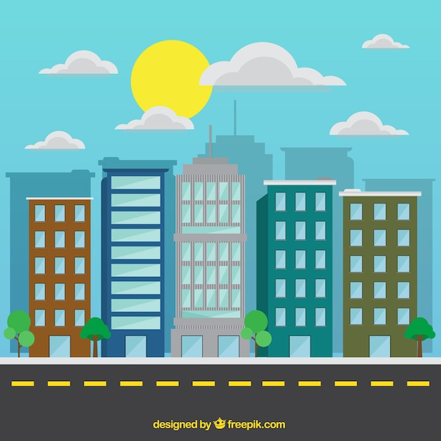 Flat modern city in a sunny day\ background