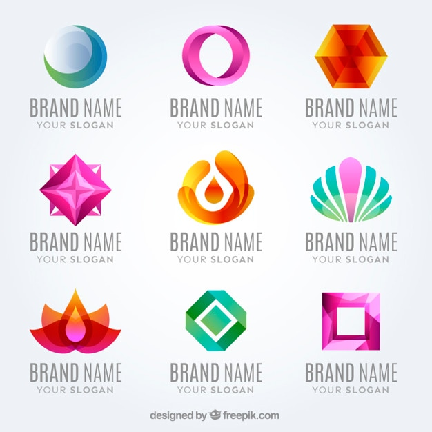 Flat modern colored logo collection