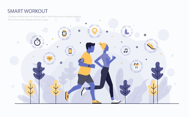 Flat modern concept illustration Premium Vector