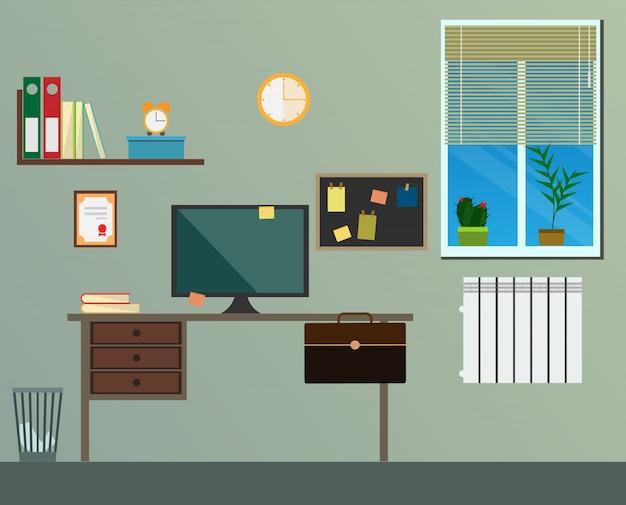 Flat modern design workplace Premium Vector