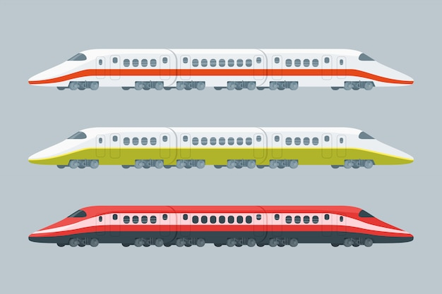 Flat modern high-speed trains collection Free Vector