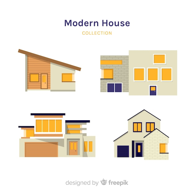 Flat modern house collection Free Vector