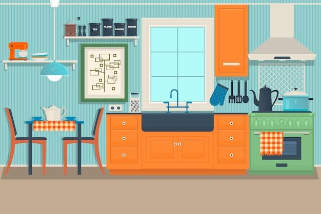 Flat Modern Kitchen Interior Vector Premium Download