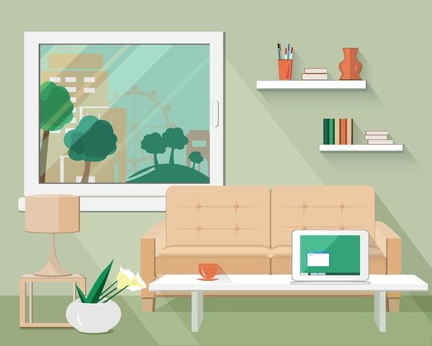 ソファ、テーブル、ランプ、植木鉢、窓付きのモダンなフラットリビングルーム。 Premiumベクター