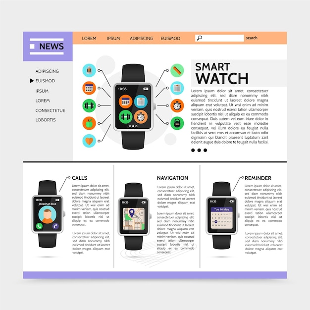Flat modern technology website with smart watch sport and fitness widgets call navigation reminder applications illustration Free Vector