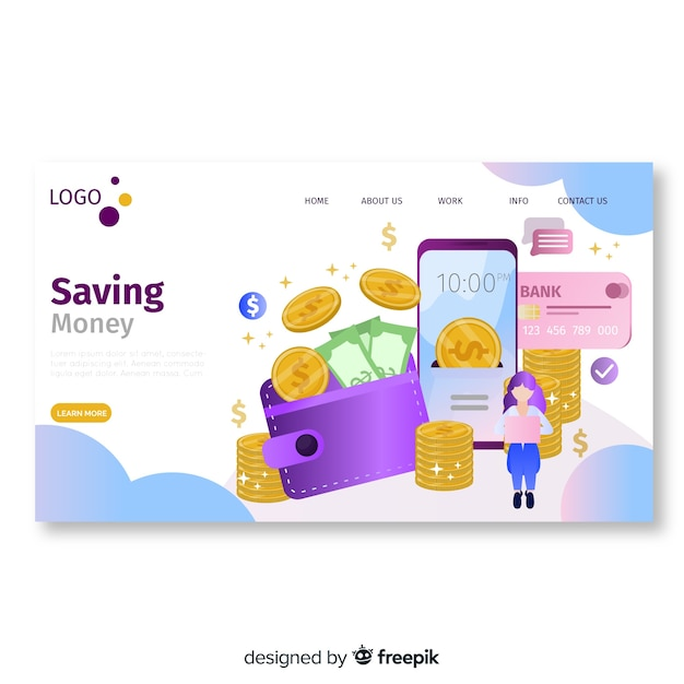 Flat money landing page template Free Vector
