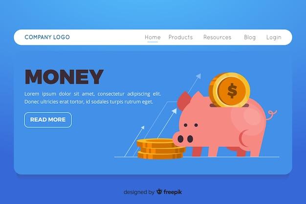 Flat money landing page Free Vector