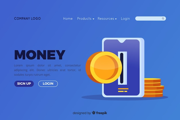 Flat money landing page Free Vector