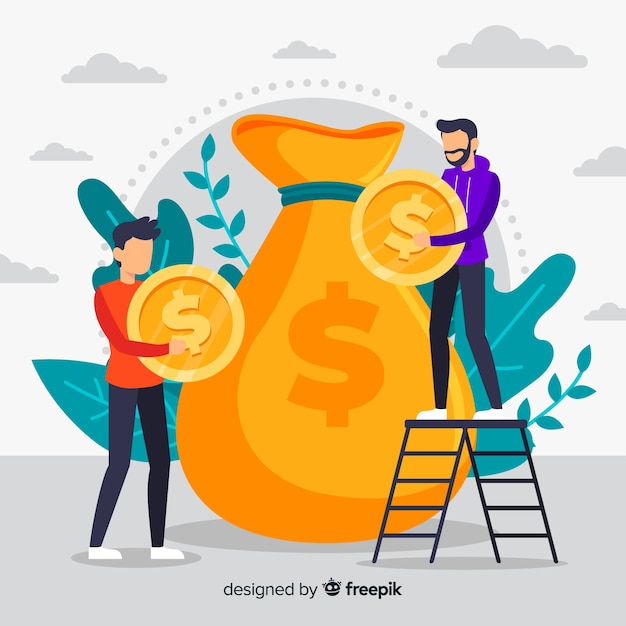 Flat money saving concept background Free Vector