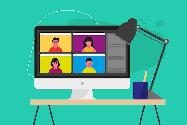 화면에 온라인 회의와 평면 모니터 벡터 프리미엄 벡터