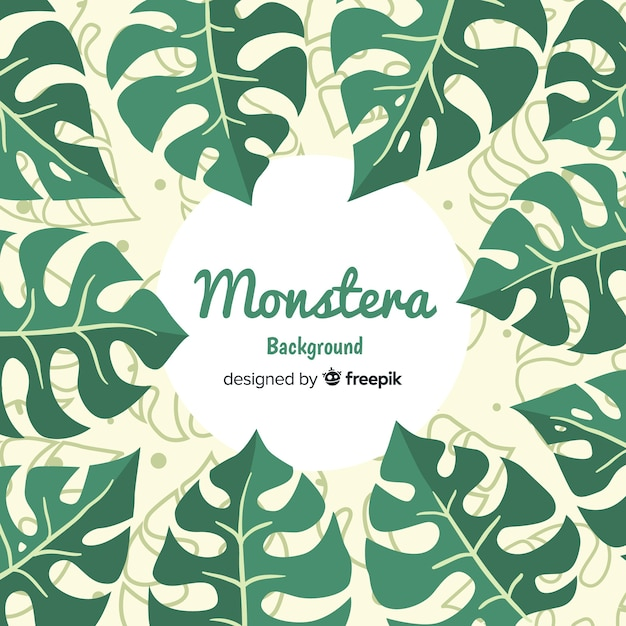 Flat monstera background Free Vector