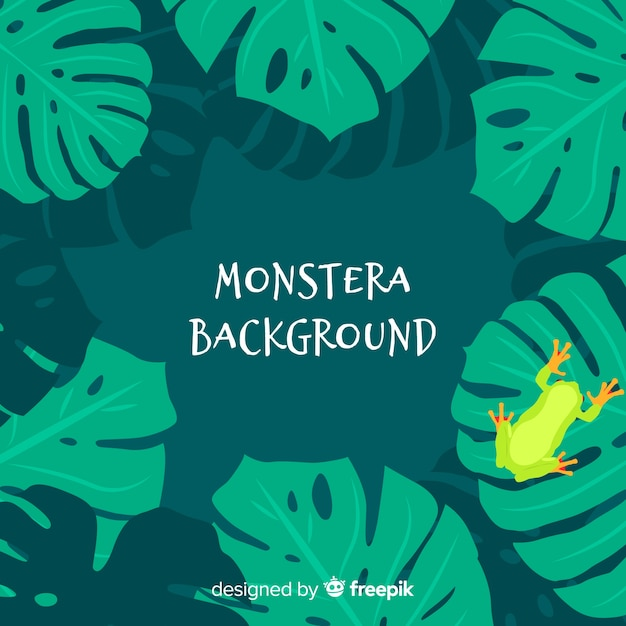 Flat monstera leaves background Free Vector