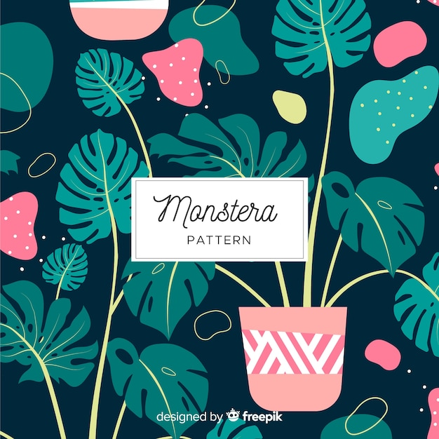 Flat monstera leaves pattern Free Vector