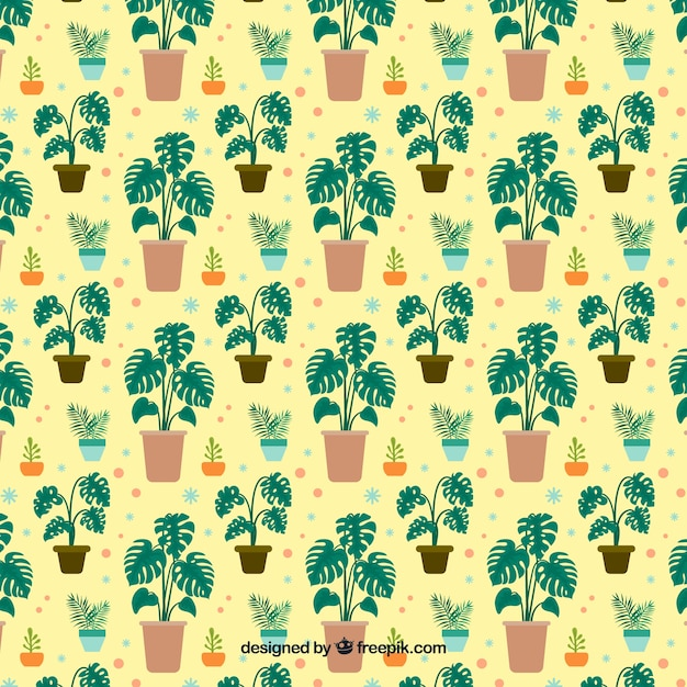 Flat monstera leaves pattern Free Vector