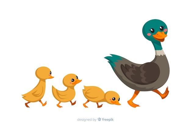 平らな母鴨と彼女の雛 無料ベクター