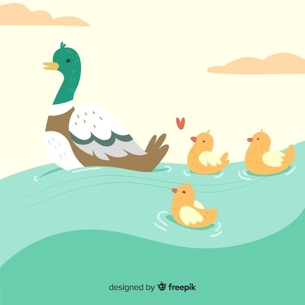 Flat mother duck and cute ducklings on water Free Vector