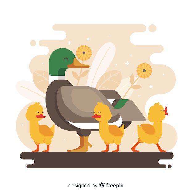 Flat mother duck and cute ducklings Free Vector