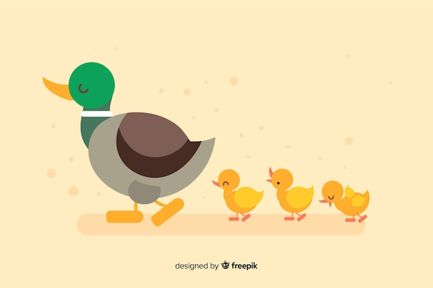 Flat mother duck and ducklings on empty background Free Vector