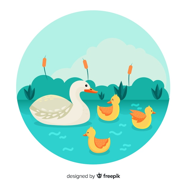 Flat mother duck and ducklings in a pond Free Vector