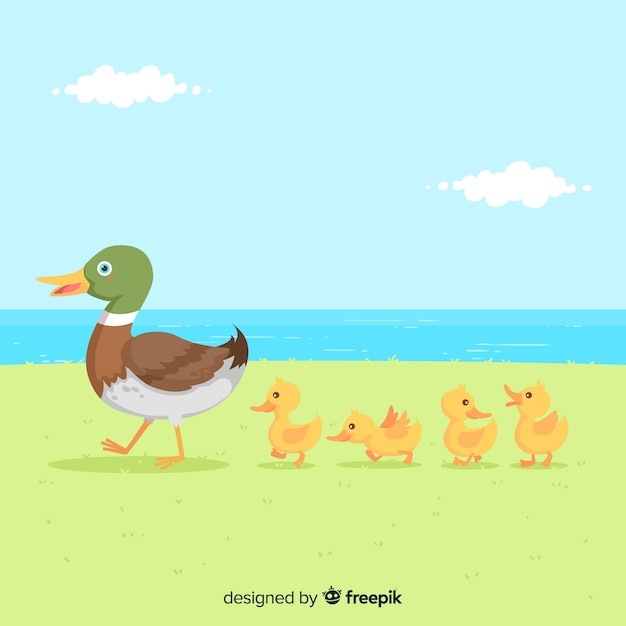 Flat mother duck and ducklings Free Vector