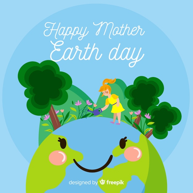 Flat mother earth day background Free Vector