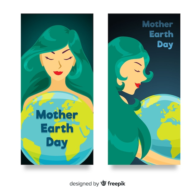 Flat mother earth day banner Free Vector