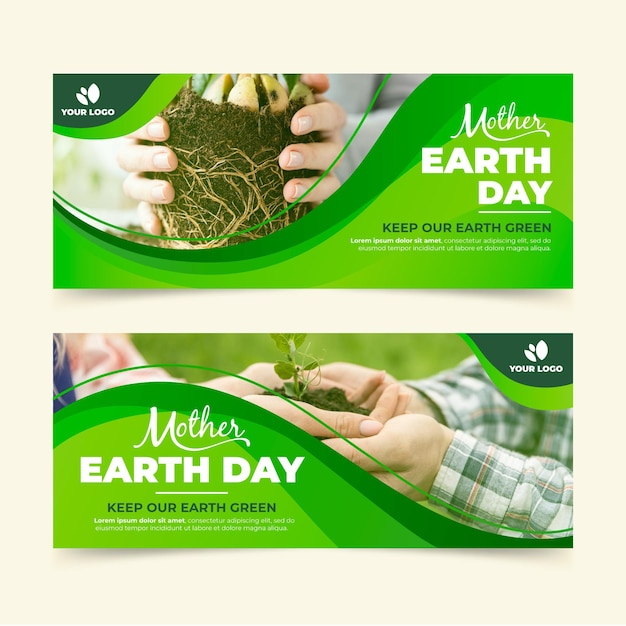 Flat mother earth day horizontal banners with photo Free Vector