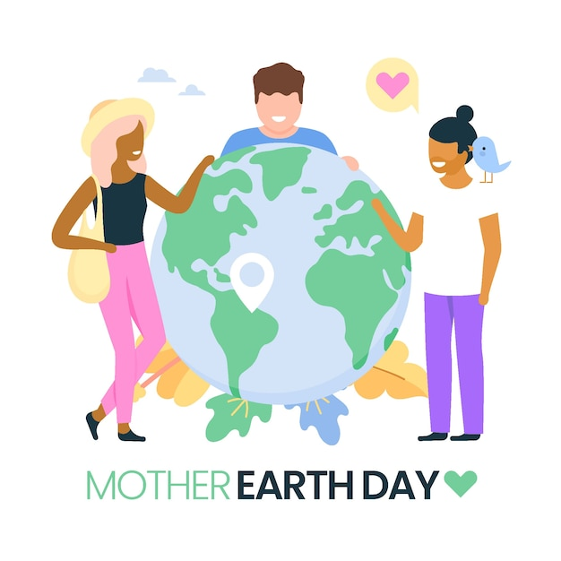 Flat mother earth day illustration with friends Free Vector