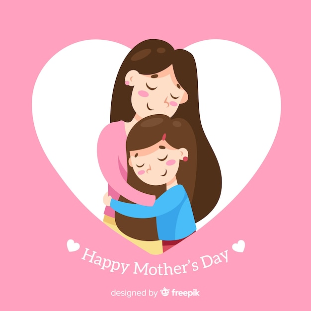 Flat mother's day background Free Vector
