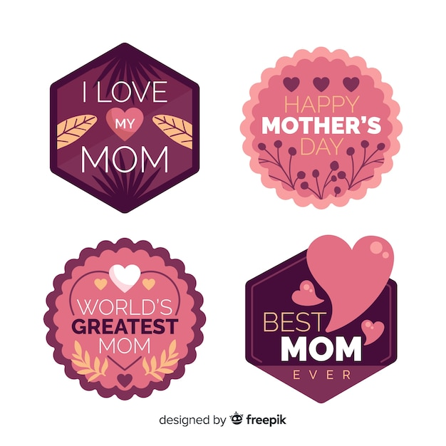 Flat mother's day badge collection Free Vector