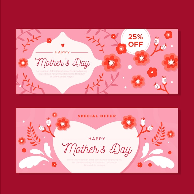 Flat mother's day banners concept Free Vector