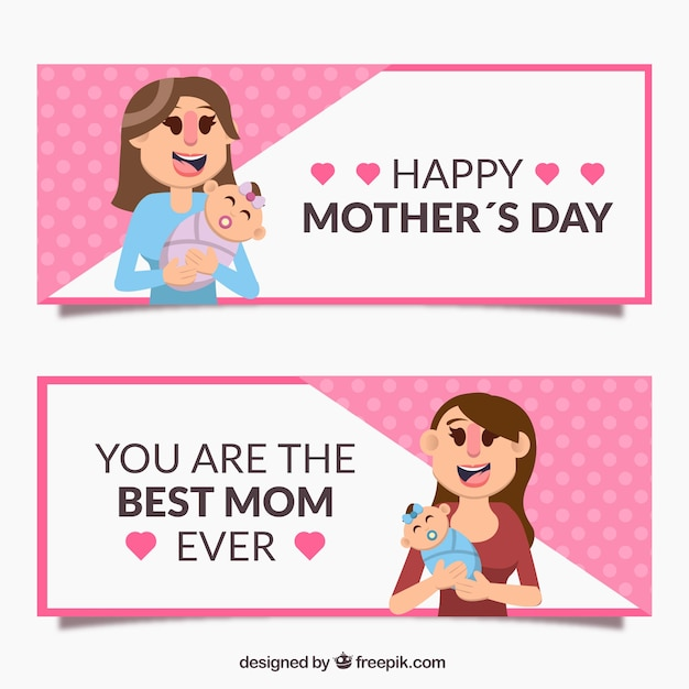 Flat mother\'s day banners of smiling woman with\ baby
