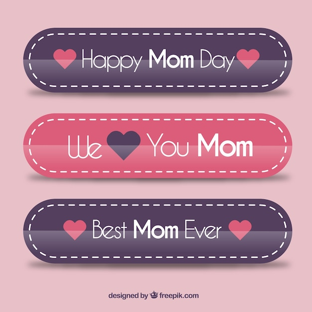 Flat mother\'s day banners with emotive\ phrase