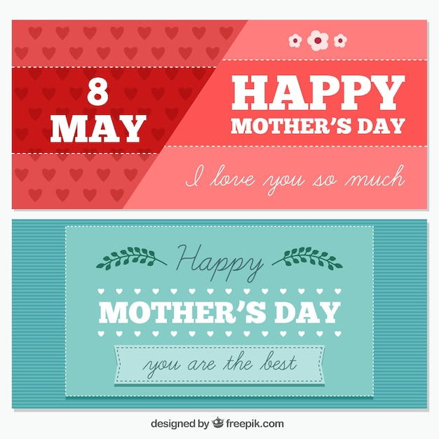 Flat mother\'s day banners