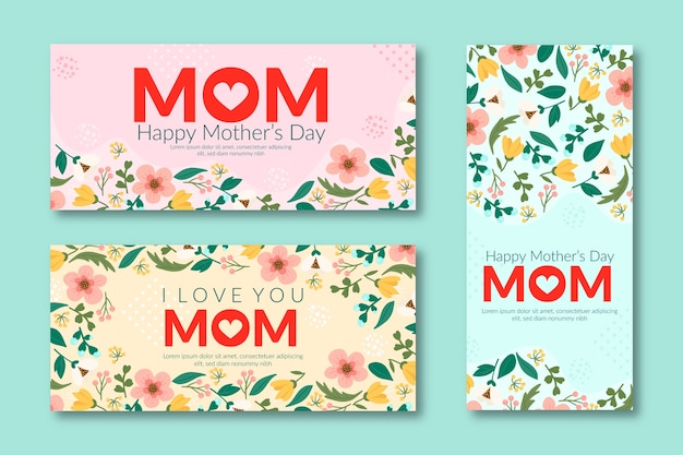 Flat mother's day banners Free Vector
