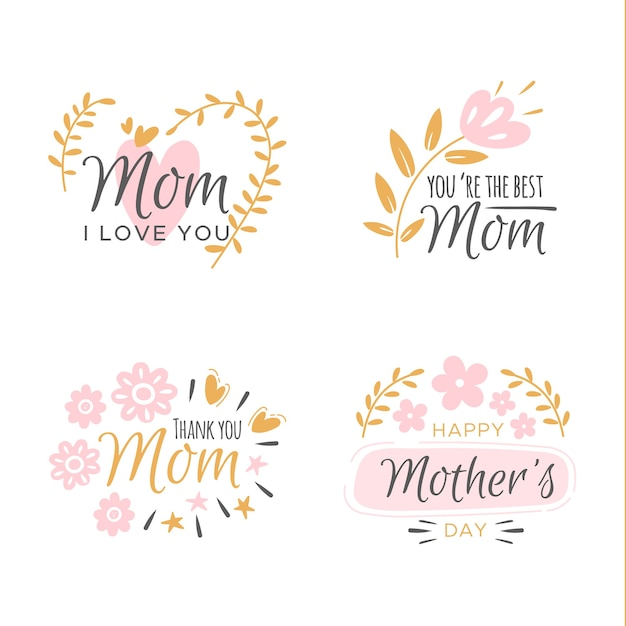 Flat mother's day label collection Free Vector