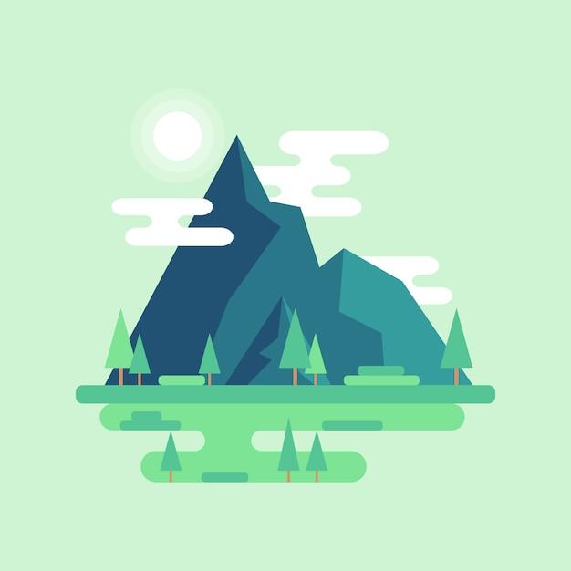 Flat mountain landscape Premium Vector