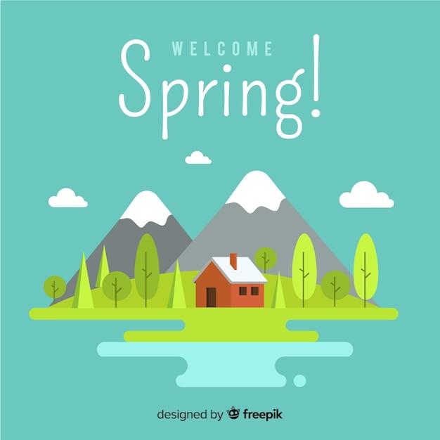 Sfondo di primavera montagna piatta Vettore gratuito