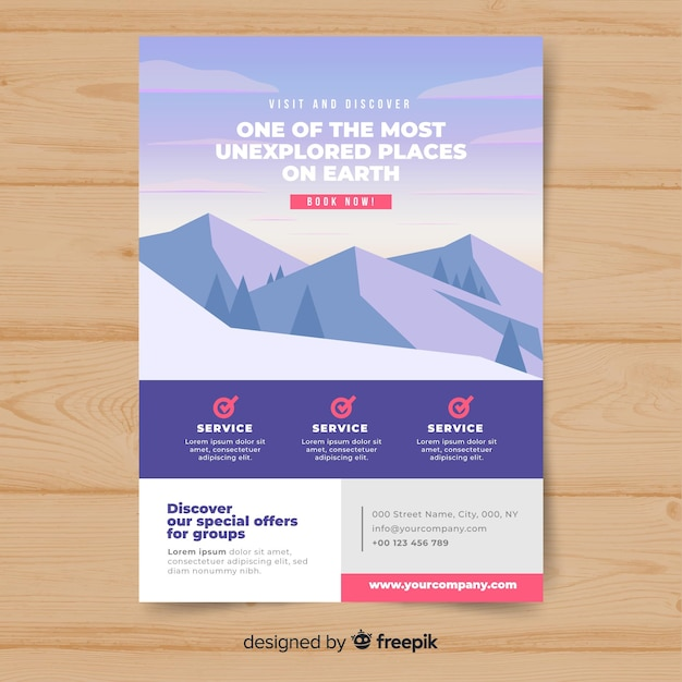 Flat mountain travel flyer Free Vector