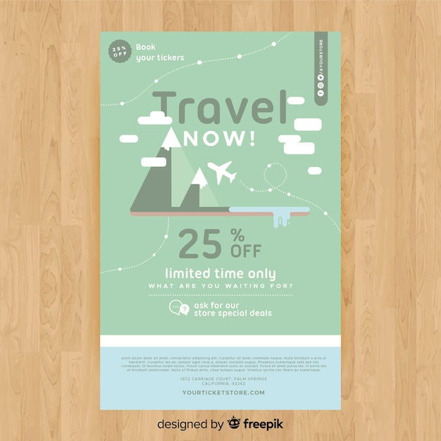 Flat Mountains Travel Flyer Template Vector Free Download