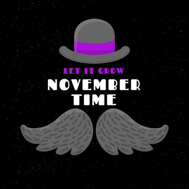 Flat movember background with hat Free Vector