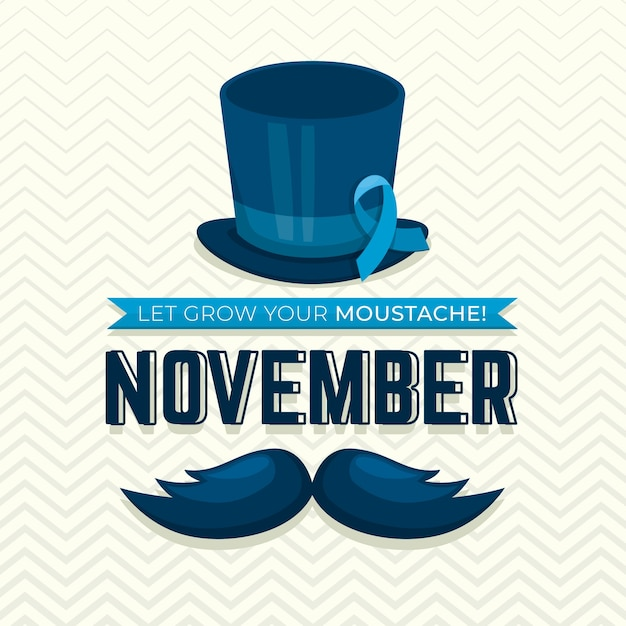 Flat movember background with ribbon Free Vector