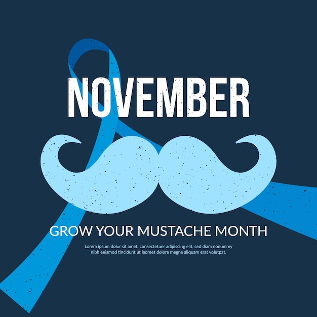 Flat movember event for raising awareness Free Vector