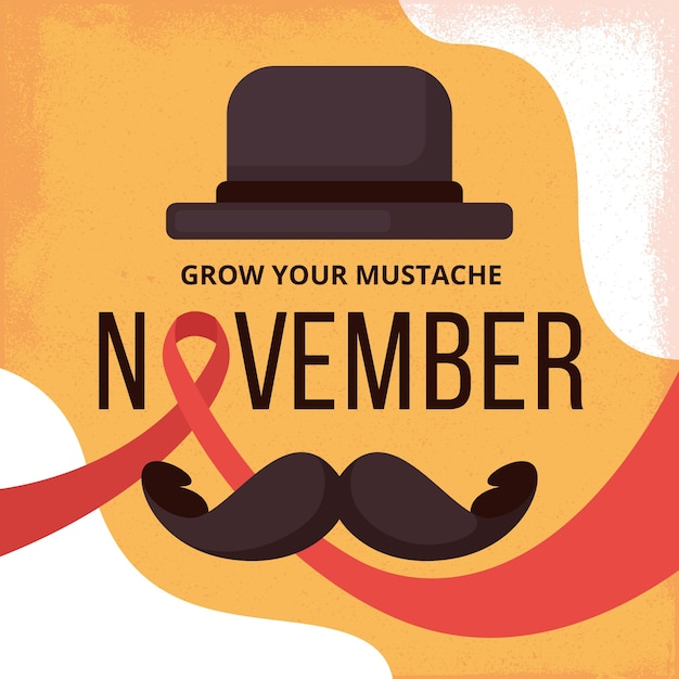 Flat movember prostate cancer awareness Free Vector