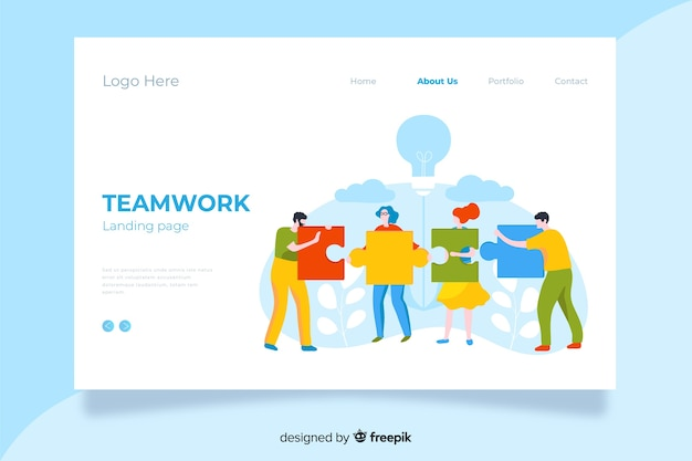 Flat multicolor design teamwork landing page with characters holding puzzle pieces Free Vector