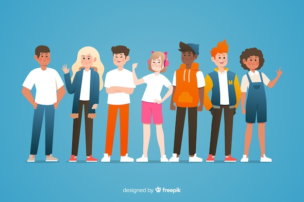 Flat multiracial group of people Free Vector