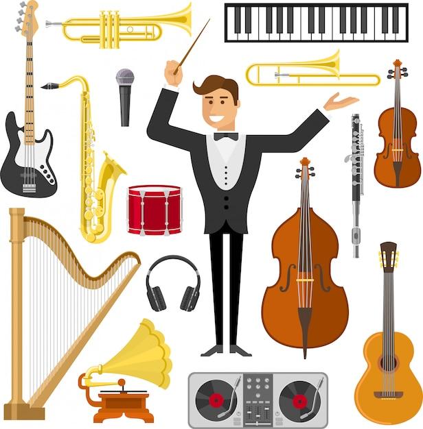 Set di elementi di musica piatta Vettore gratuito